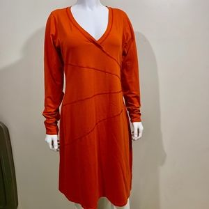 Athleta Sunburst Dress Orange Aline Knit